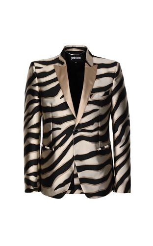 JUST CAVALLI Jacket Man Zebra-striped bomber jacket f