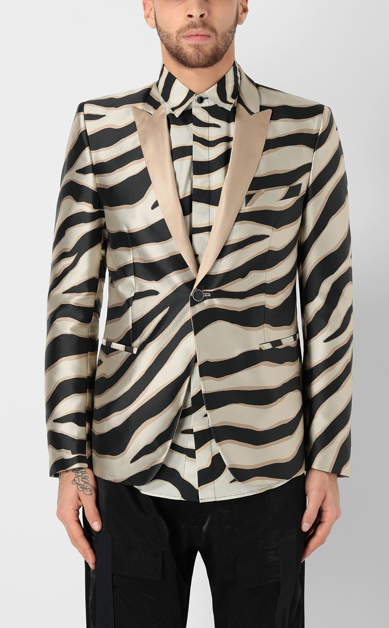 JUST CAVALLI Blazer with zebra-stripe pattern Blazer Man r