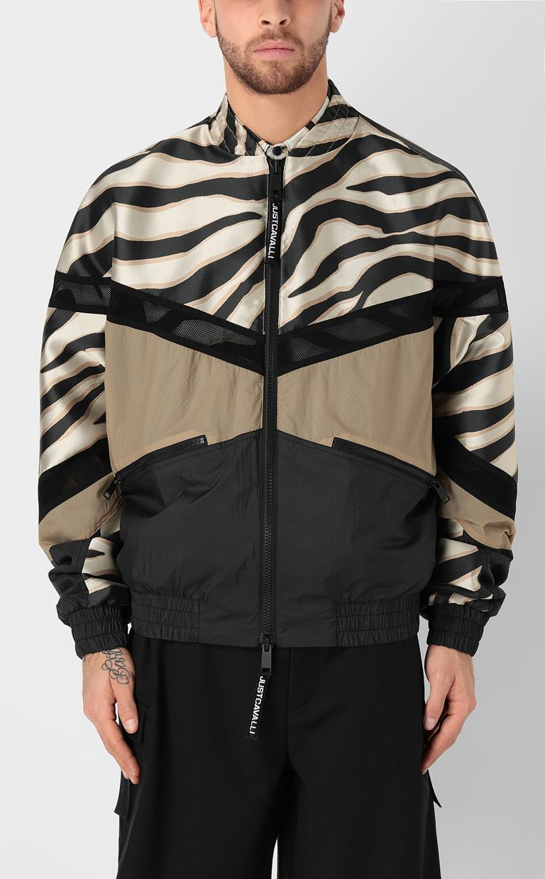 JUST CAVALLI Zebra-striped bomber jacket Jacket Man r