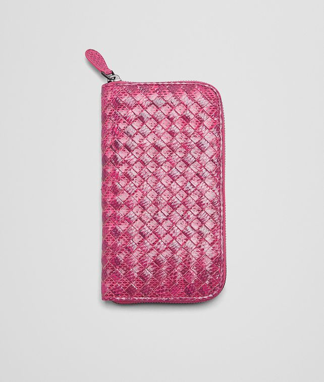 BOTTEGA VENETA ROSA SHOCK Intrecciato Ayers Livrea ZIP AROUND WALLET Zip Around Wallet D fp