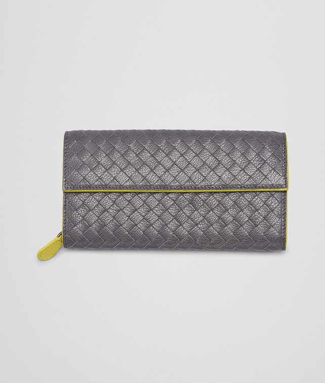 BOTTEGA VENETA MEDIUM GREY NEW CHARTREUSE  INTRECCIATO  MADRAS HERITAGE CONTINENTAL WALLET Continental Wallet D fp