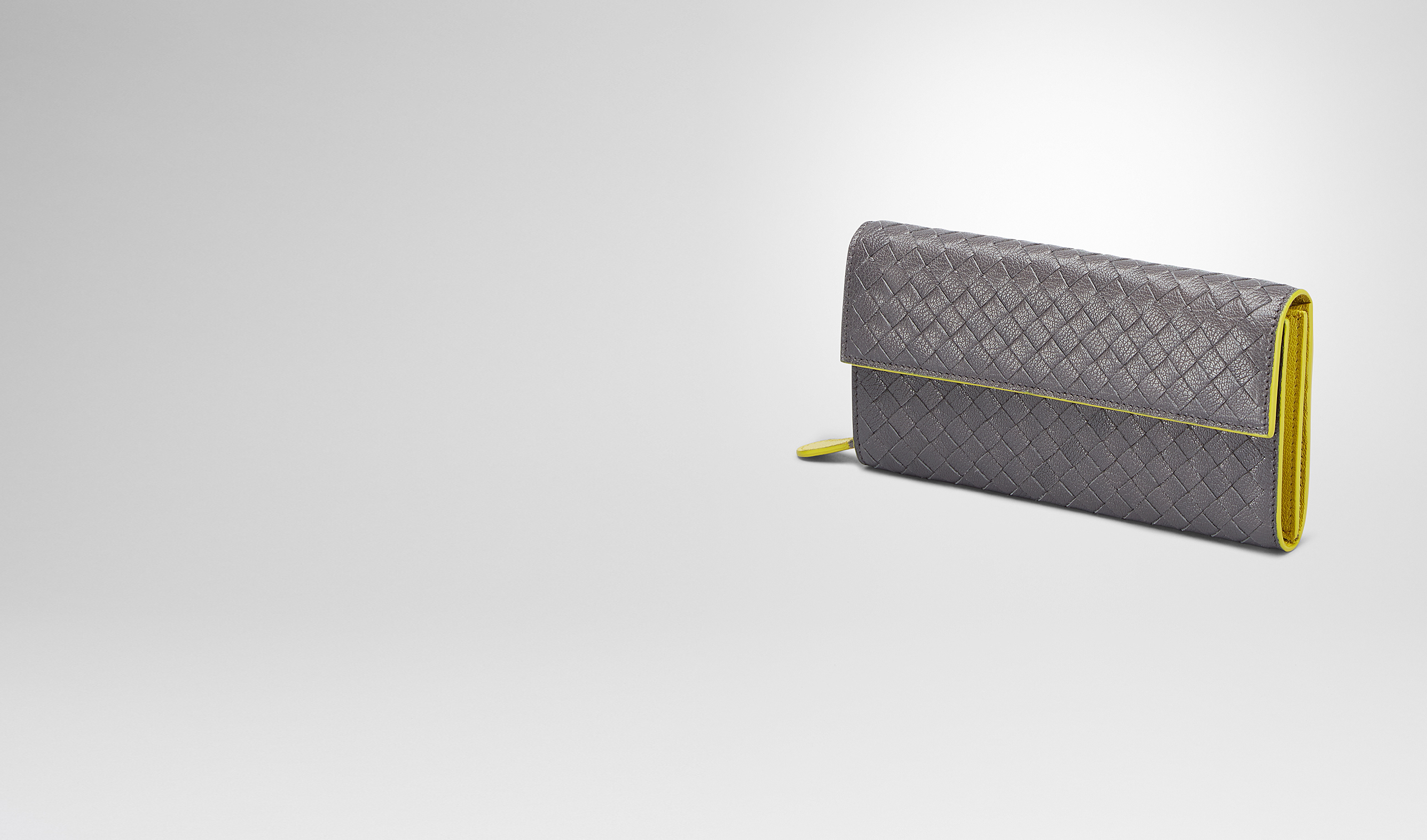 BOTTEGA VENETA Continental Wallet D MEDIUM GREY NEW CHARTREUSE  INTRECCIATO  MADRAS HERITAGE CONTINENTAL WALLET pl