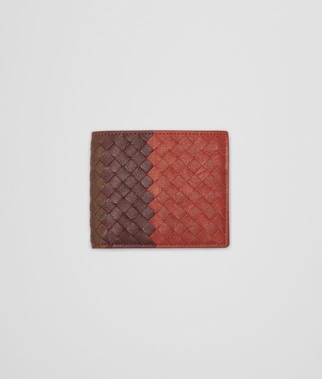 BOTTEGA VENETA Burnt Red Aubergine Edoardo Intrecciato Club Fumé Wallet Bi-fold Wallet U fp