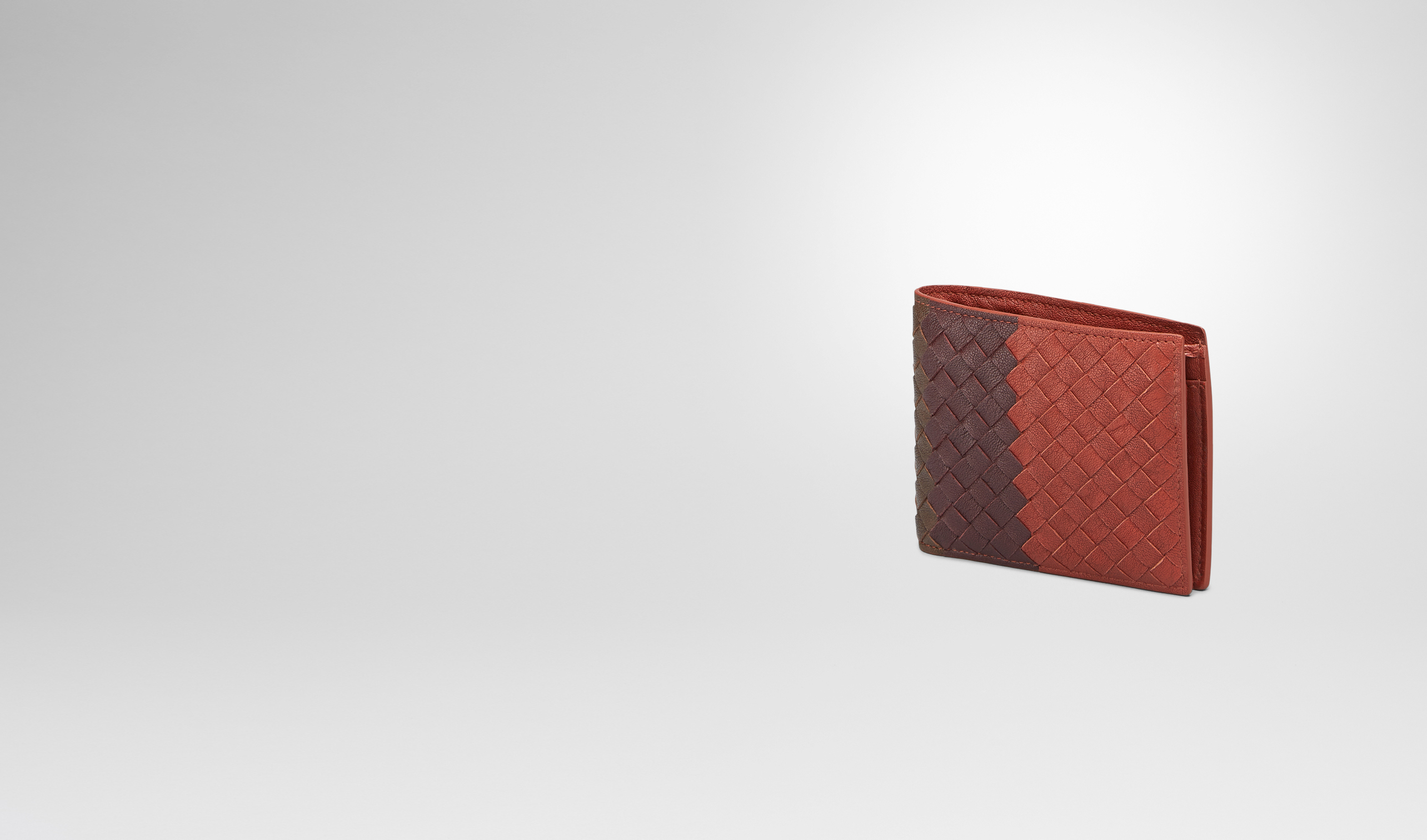 BOTTEGA VENETA Bi-fold Wallet U Burnt Red Aubergine Edoardo Intrecciato Club Fumé Wallet pl