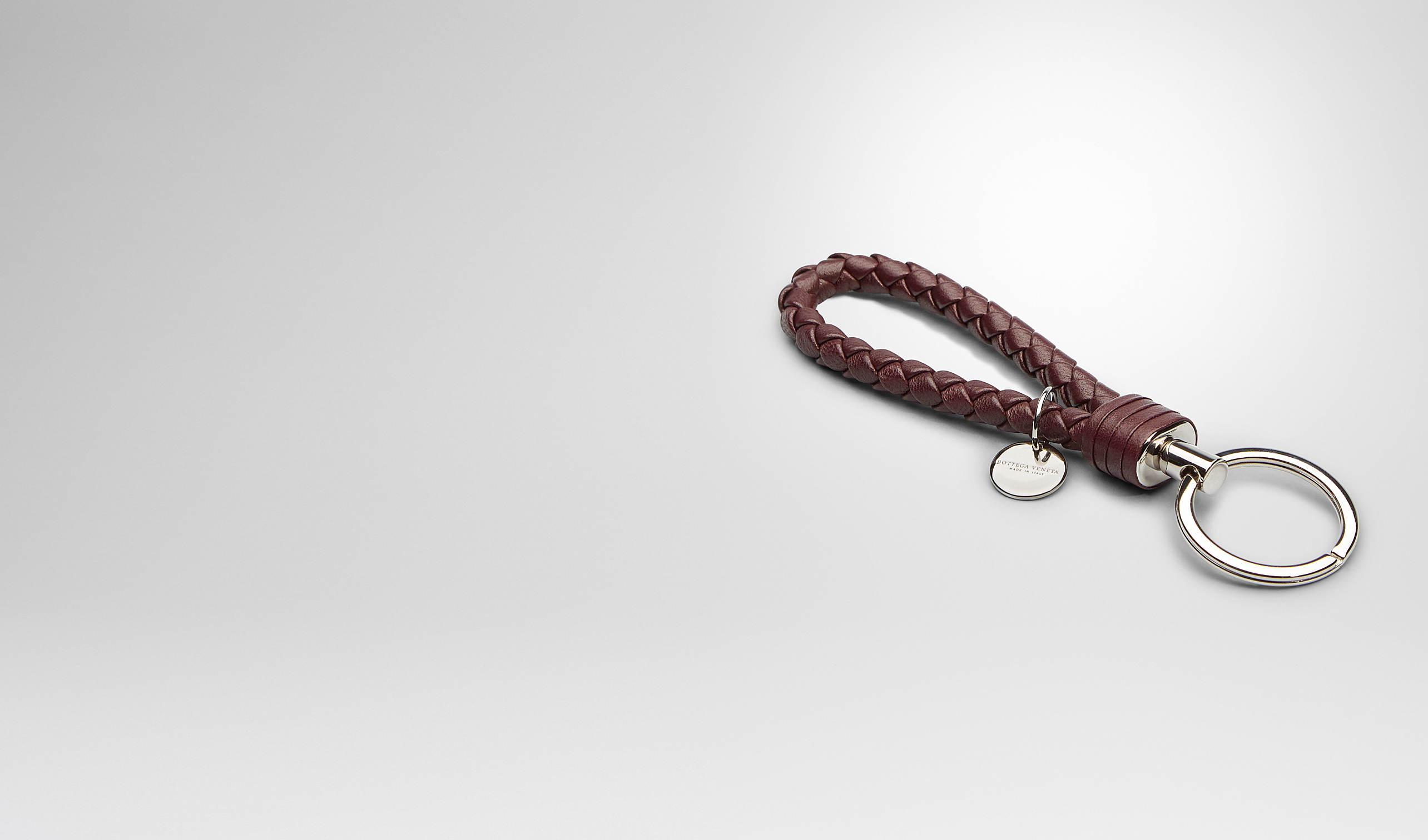 BOTTEGA VENETA Schlüsselring oder Armband E SCHLÜSSELANHÄNGER AUS NAPPALEDER INTRECCIATO AUBERGINE pl