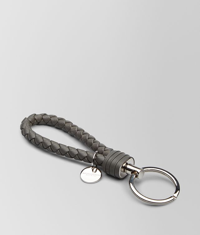 BOTTEGA VENETA LIGHT GRAY INTRECCIATO NAPPA KEY RING Keyring or Bracelets E fp