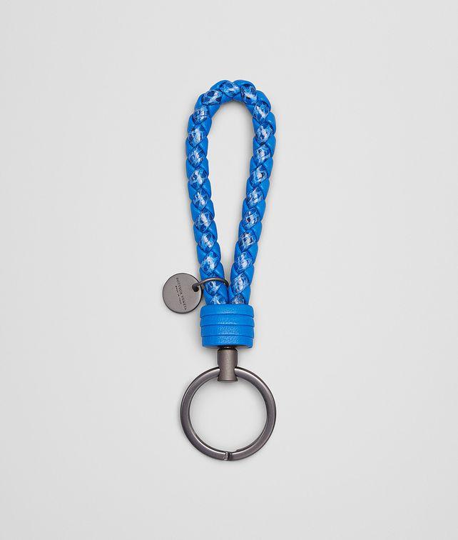 BOTTEGA VENETA SIGNAL BLUE Intrecciato Ayers Livrea KEY RING Keyring or Bracelets E fp