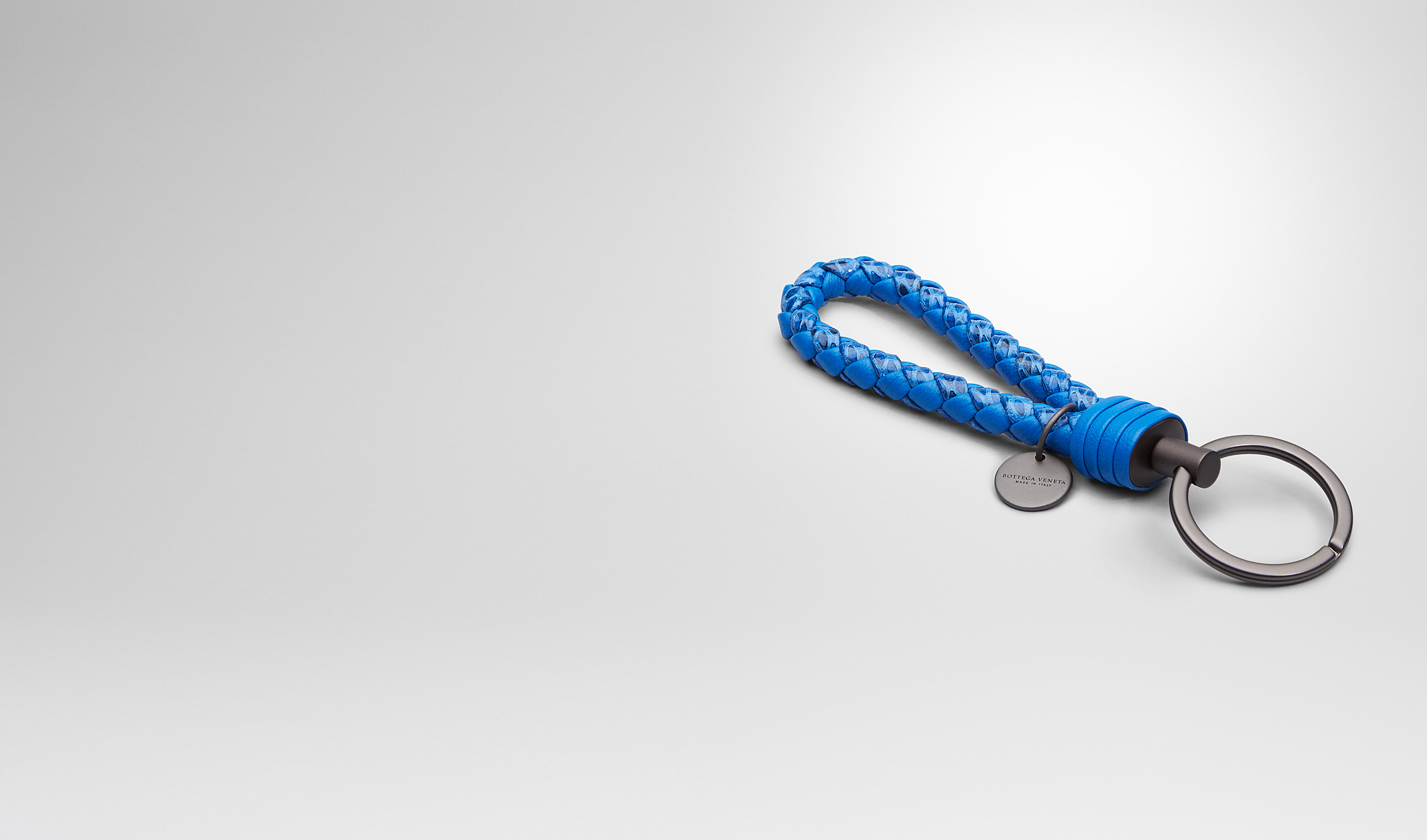 BOTTEGA VENETA Keyring or Bracelets E SIGNAL BLUE Intrecciato Ayers Livrea KEY RING pl