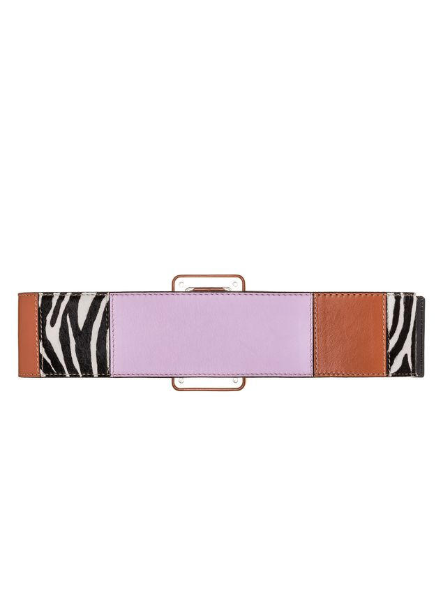 Marni Belt in nappa and pony patchwork 70s Woman