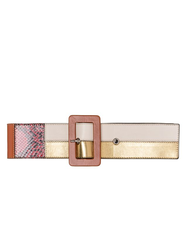 Marni Belt in nappa and pony patchwork 70s Woman - 1