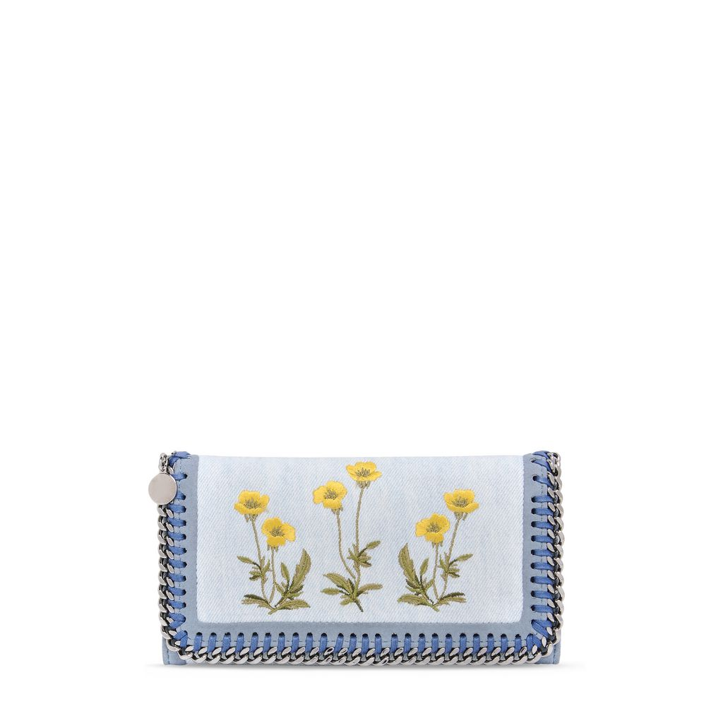 Falabella Denim Botanical Flap Wallet - STELLA MCCARTNEY