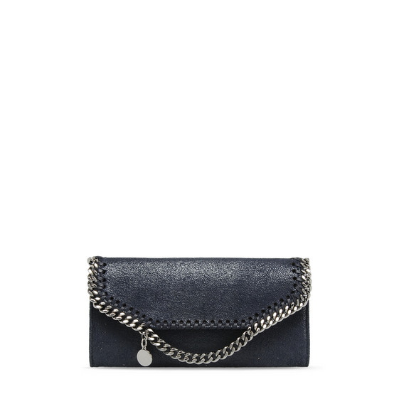 Navy Falabella Shaggy Deer Continental Wallet