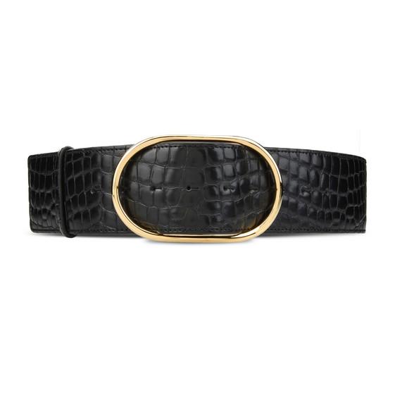 Gürtel aus Krokodil-Kunstleder in Schwarz