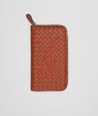 ZIP AROUND WALLET IN CALVADOS EMBROIDERED NAPPA, AYERS DETAILS