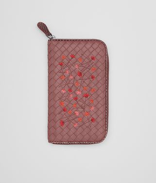 ZIP-AROUND WALLET IN DUSTY ROSE EMBROIDERED NAPPA, AYERS DETAILS