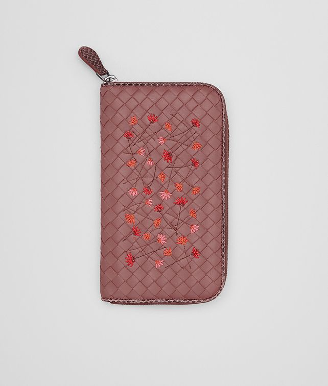 BOTTEGA VENETA ZIP AROUND WALLET IN DUSTY ROSE EMBROIDERED NAPPA, AYERS DETAILS Zip Around Wallet D fp