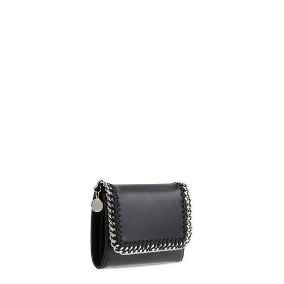 Black Falabella Box Small Flap Wallet