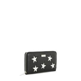 Black Metallic Stars Zip Wallet