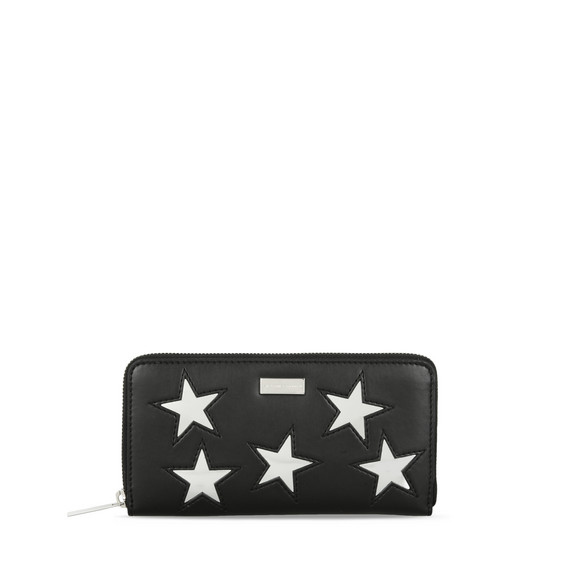 Black Metallic Stars Zip Wallet