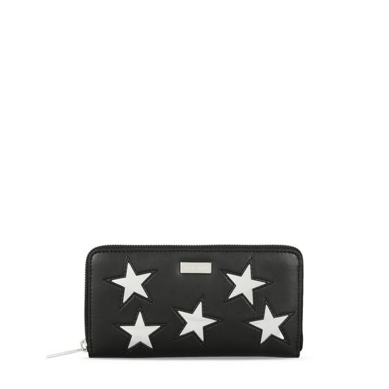Portefeuille zippé noir avec étoiles métallisées