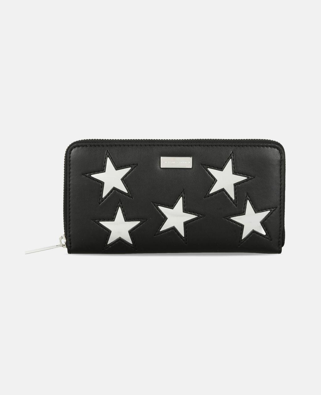 Black Metallic Stars Zip Wallet - STELLA MCCARTNEY