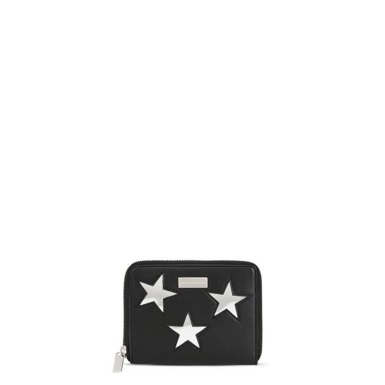 Portafoglio Piccolo Nero con Zip e Stelle Metallizzate