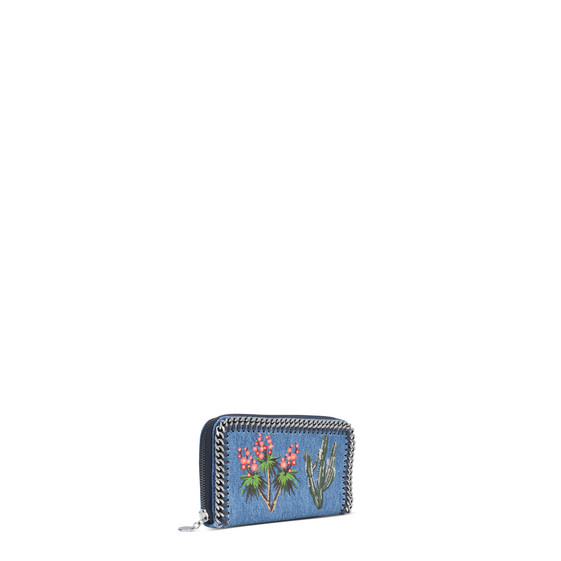 Falabella Denim Embroidered Zip around wallet