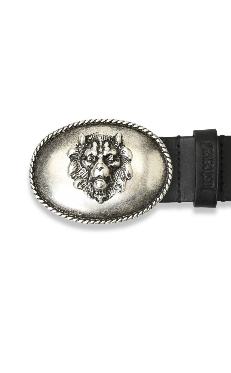 JUST CAVALLI Leather belt with detailed buckle Belt Woman e