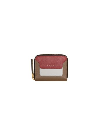 Marni Mini wallet in two-color red saffiano calfskin Woman