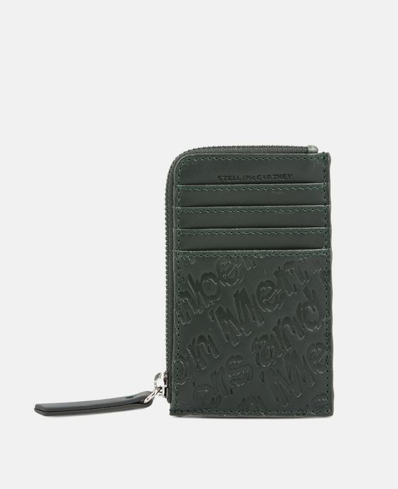 Green Eco Alter Nappa Embossed Card and Coin Case