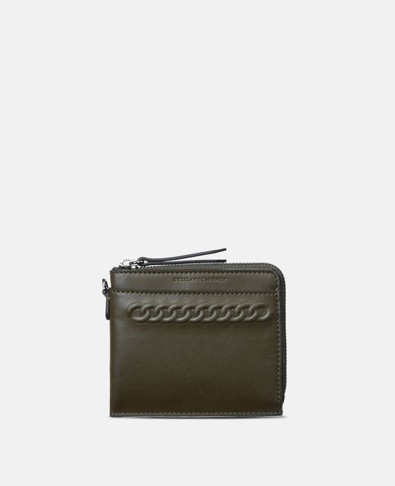 Khaki Eco Alter Nappa Falabella Card Case