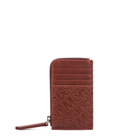 Red Eco Alter Nappa Embossed Card and Coin Case