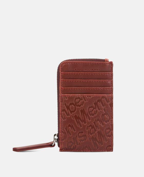 红色生态环保纳帕皮革凸纹卡夹零钱包