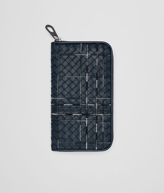 DENIM INTRECCIATO NAPPA ZIP-AROUND WALLET