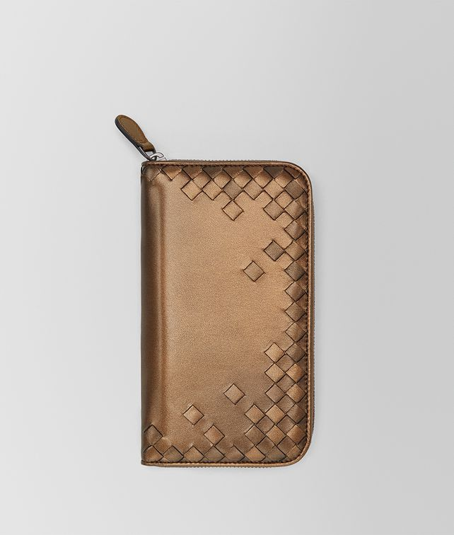 BOTTEGA VENETA ORO SCURO NAPPA ZIP-AROUND WALLET Zip Around Wallet [*** pickupInStoreShipping_info ***] fp