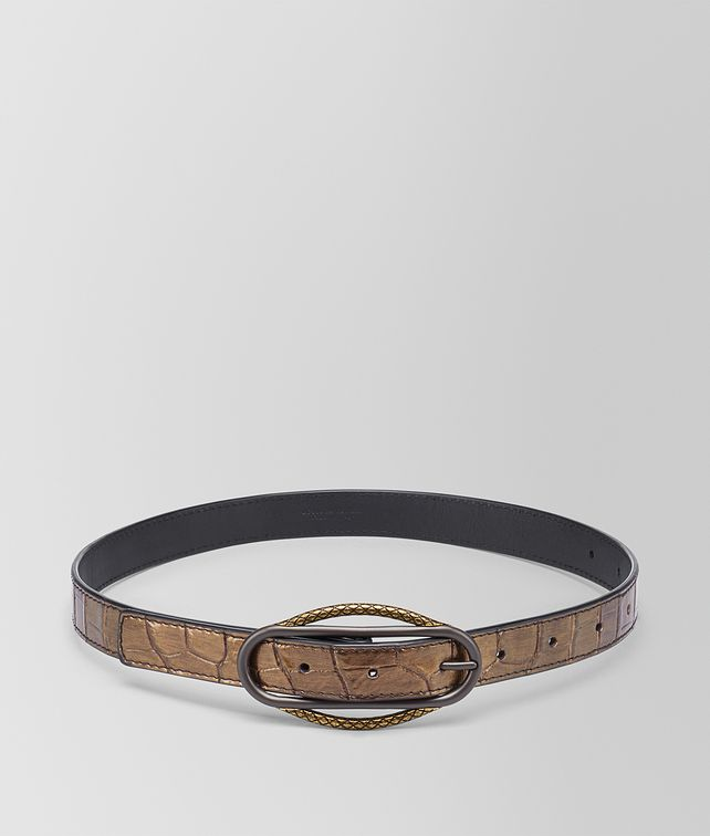 BOTTEGA VENETA ORO SCURO CROCODILE BELT Belt Woman fp
