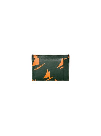 Marni Card case in black and orange leather Sail print Man
