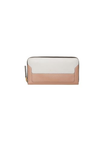 Marni Zip around wallet in two-color pink saffiano calfskin Woman