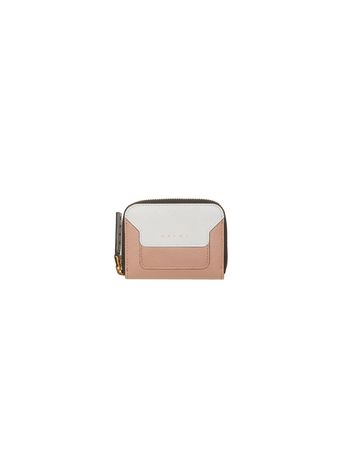 Marni Mini wallet in two-color pink saffiano calfskin Woman