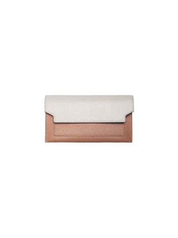 Marni TRUNK gusset wallet in pink and white saffiano Woman