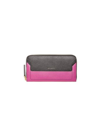 Marni Zip around wallet in two-color fuchsia saffiano calfskin Woman