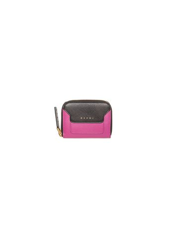 Marni Mini wallet in two-color fuchsia saffiano calfskin Woman