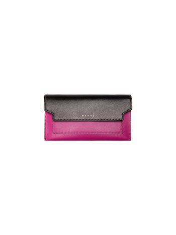 Marni TRUNK gusset wallet in black and fuchsia saffiano Woman