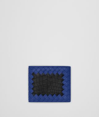 COBALT BLUE INTRECCIATO NAPPA NERO CROCODILE WALLET