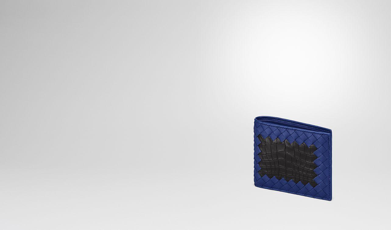cobalt blue intrecciato nappa nero crocodile wallet landing