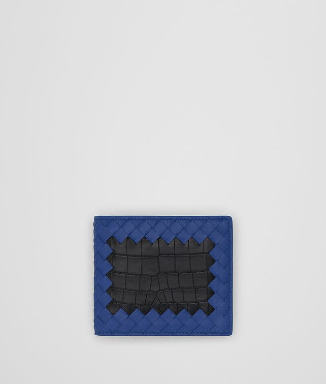 BOTTEGA VENETA COBALT BLUE INTRECCIATO NAPPA NERO CROCODILE WALLET Bi-fold Wallet Man fp