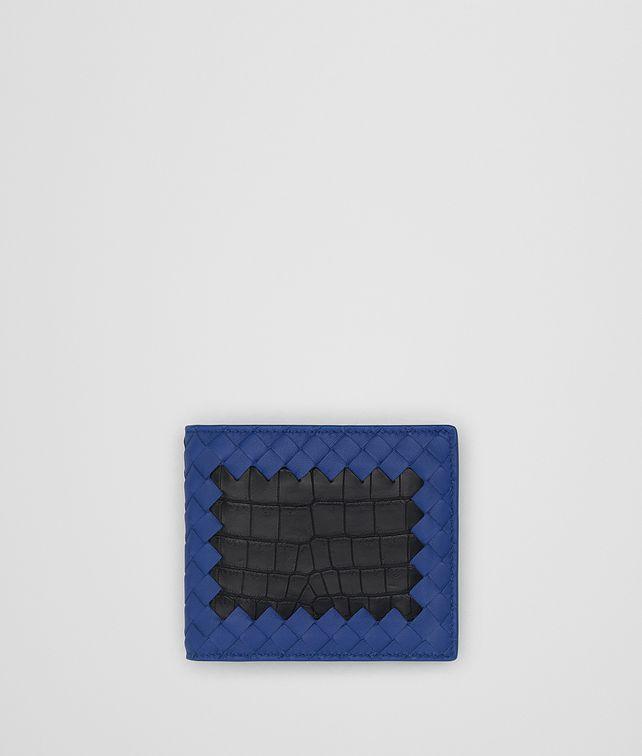 BOTTEGA VENETA COBALT BLUE INTRECCIATO NAPPA NERO CROCODILE WALLET Bi-fold Wallet [*** pickupInStoreShippingNotGuaranteed_info ***] fp