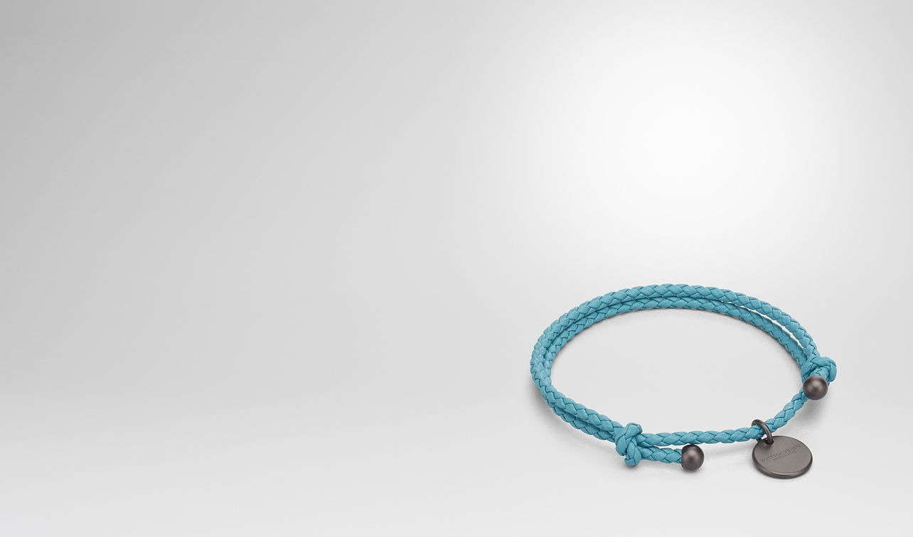 aqua Intrecciato nappa key ring - Blue Bottega Veneta DXph149cP