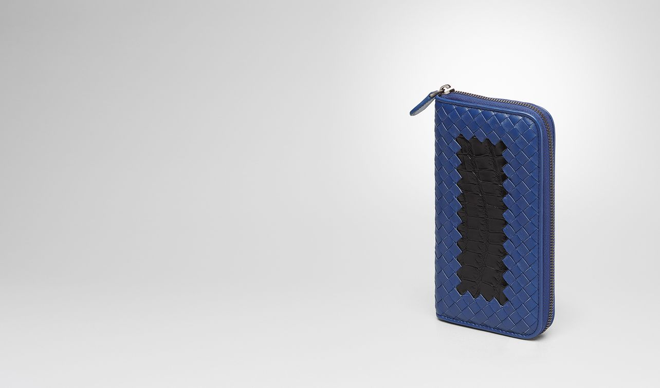 cobalt blue intrecciato nappa nero crocodile zip-around wallet landing
