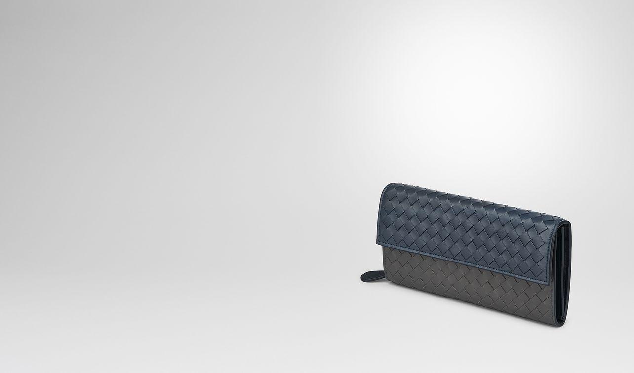 denim intrecciato nappa multicolor continental wallet landing